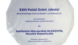 MLEKOVITA nagrodzona za promowanie międzynarodowych standardów zarządzania